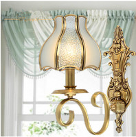 Italy Palace Antique Copper Wall Lamp Frosted Glass Lampshade Modern Wall Sconce Bedroom Wall Lights Bedside