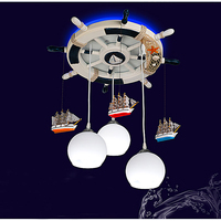 Boys children 's room rudder LED lamps chandeliers Mediterranean living room restaurant decorated bedroom complex lighting ET15