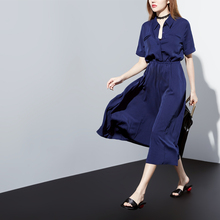 [XITAO] NEW summer preppy style solid color mid-calf length A-line form empire waist turn-down collar short sleeve dress XMB-001