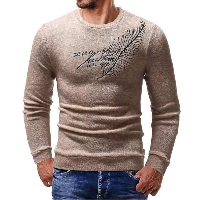 2018 Autumn Christmas Sweater Men Winter Long Sleeve O Neck Jumper Pullover Casual Pattern Slim  Male Knitted Feather Sweater