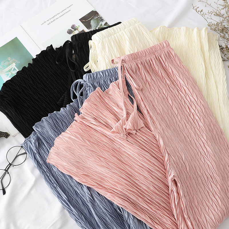 2019 New Summer Elegant Pleated   Wide     Leg     Pants   Sweet Lace-up Bow High Waist   Pants   women Beach Style Loose Holidy trousers Mw696