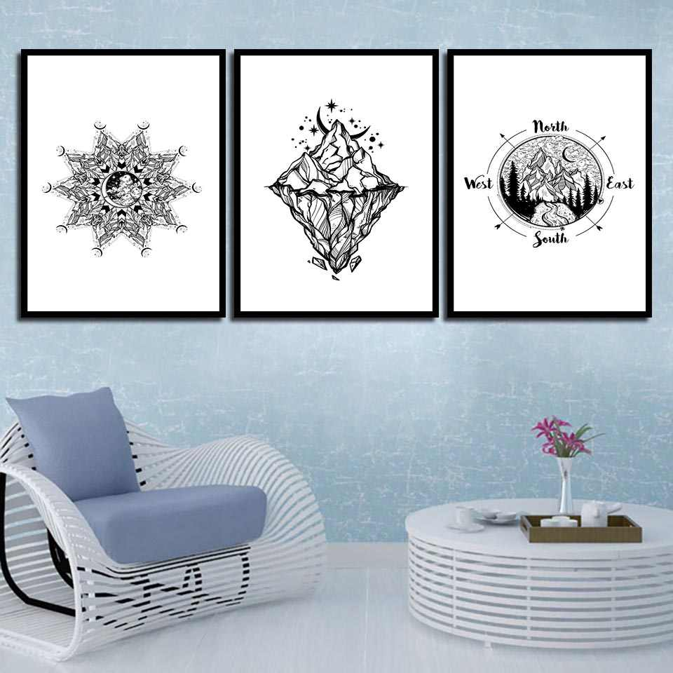 Wall Canvas Paintings HD Prints Quote Abstract Black Gray Mountain Simple Nordic Posters Photo Pop Artwork Decoration Picture