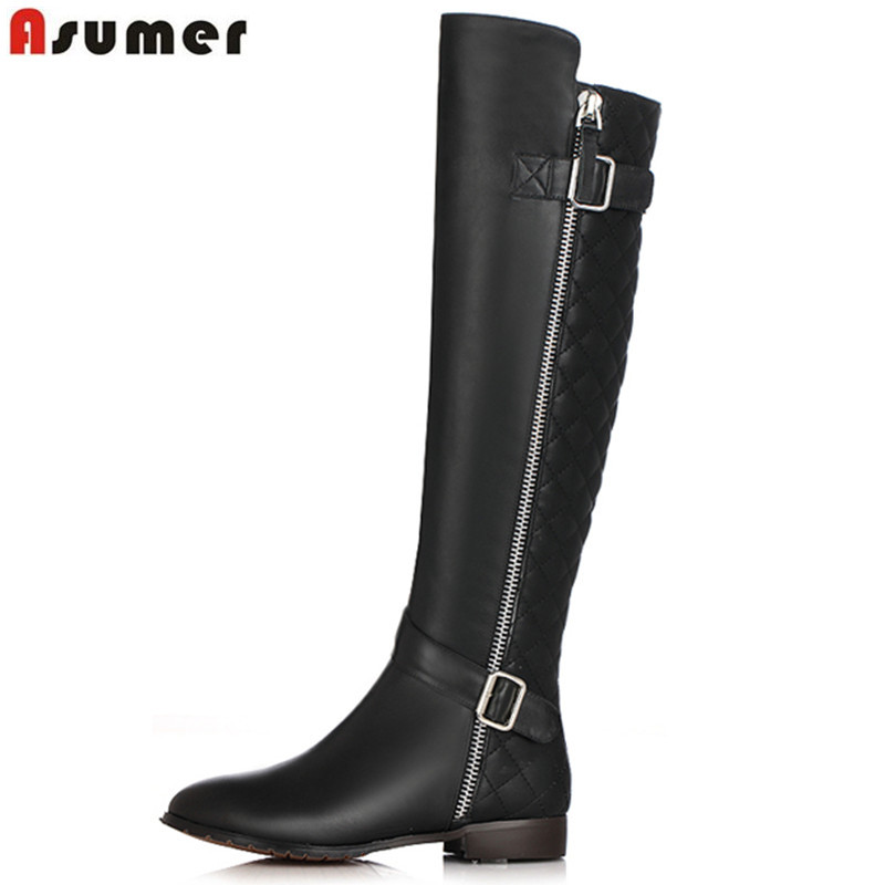 ASUMER 2018 hot sale new knee high boots women round toe zip pu+cow leather boots low heels autumn winter boots ladies shoes asumer 2018 fashion autumn winter boots zip round toe suede leather knee high boots women thick high heels boots ladies shoes