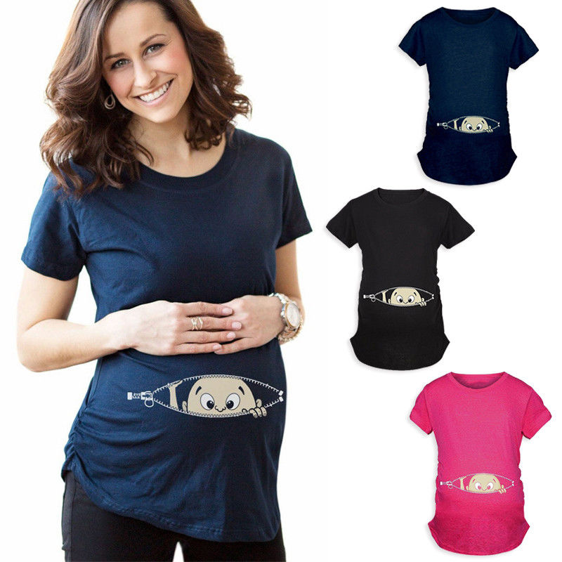 New 2018 Summer Maternity Pregnancy T Shirt Women Cartoon Tee Baby Print Staring Pregnant Clothes Funny T-shirt Plus Size M-3XL peach print tee