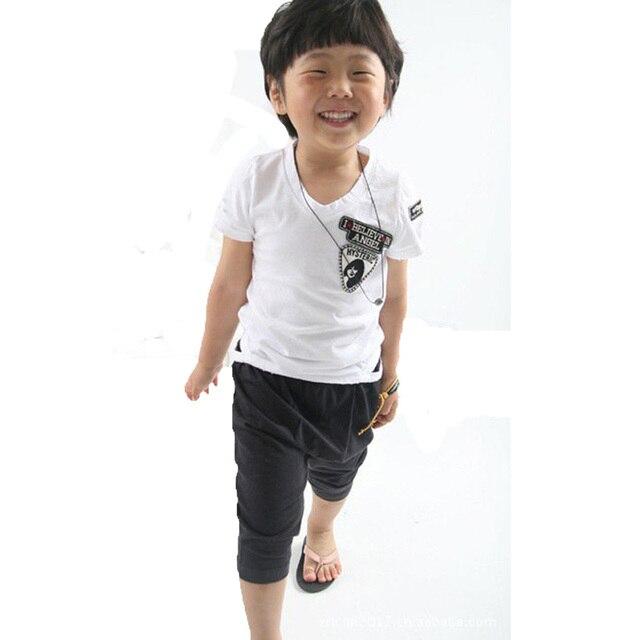 toddler boys clothing set summer style white short-sleeve t shirts+black harem shorts pants 2017 fashion 2pcs boy clothing sets