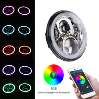 7 Inch LED Headlights Kit RGB With Bluetooth Remote Halo Ring Angel Eyes For Jeep Wrangler