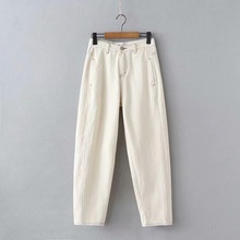 169f1b829 KZ881 New Brief Solid Color Line Thread Deco Cream Color Denim Pants Women  Casual Match All
