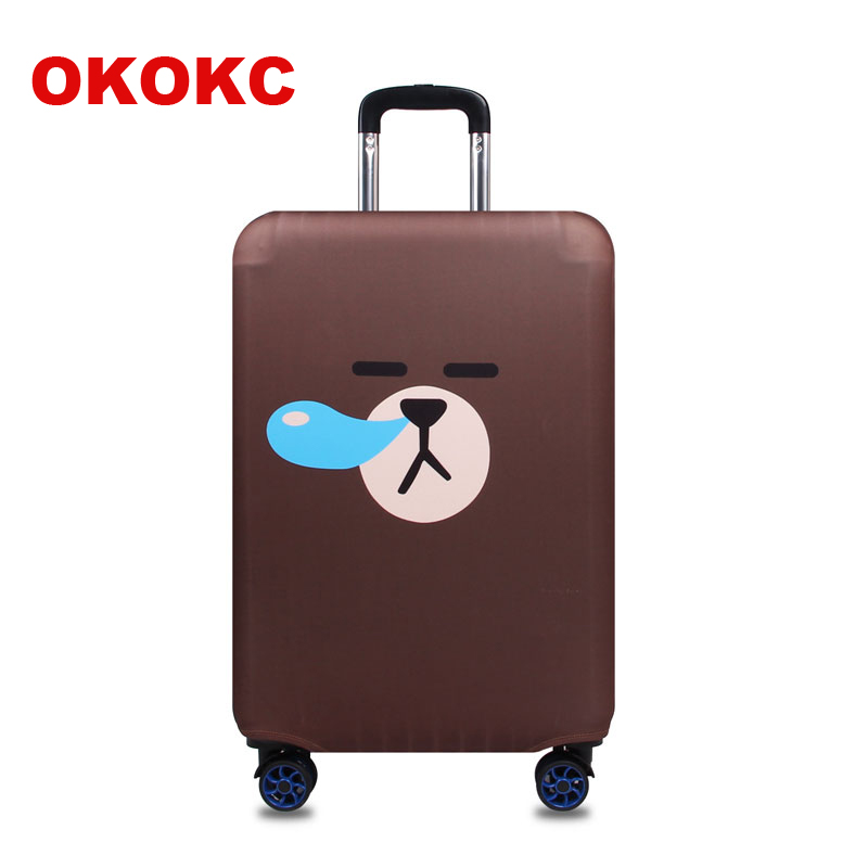 OKOKC Thickest Travel Snivel Bear Luggage Suitcase Protective Cover For Trunk Case Apply To 19''-32'' Suitcase Cover Elastic