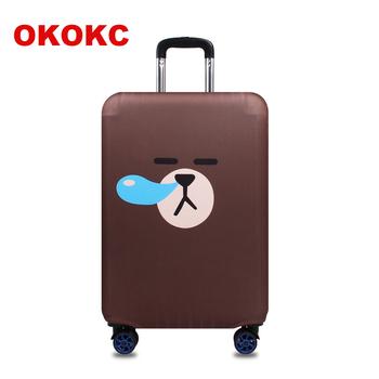 OKOKC najgrubsza torba podróżna Snivel Bear osłona ochronna walizki bagażowej do walizki bagażowej zastosuj do 19 #8221 -32 #8221 pokrowiec na walizkę elastyczny tanie i dobre opinie Akcesoria podróżnicze Animal prints T2190 Klapy Bagażnika 33cm 54cm 0 35g 80cm Polyester Poliester