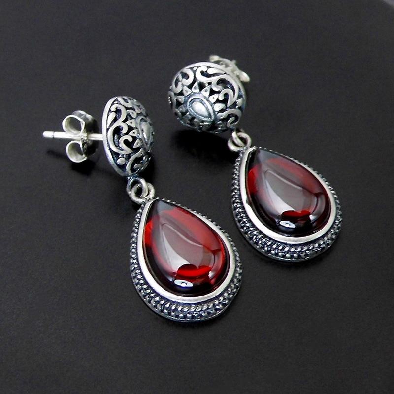 FNJ 925 Silver Earrings for Women Jewelry Hang Red Zircon Garnet Stone S925 Sterling Silver boucle d'oreille Tassel Drop Earring pair of stylish red tassel drop earrings for women