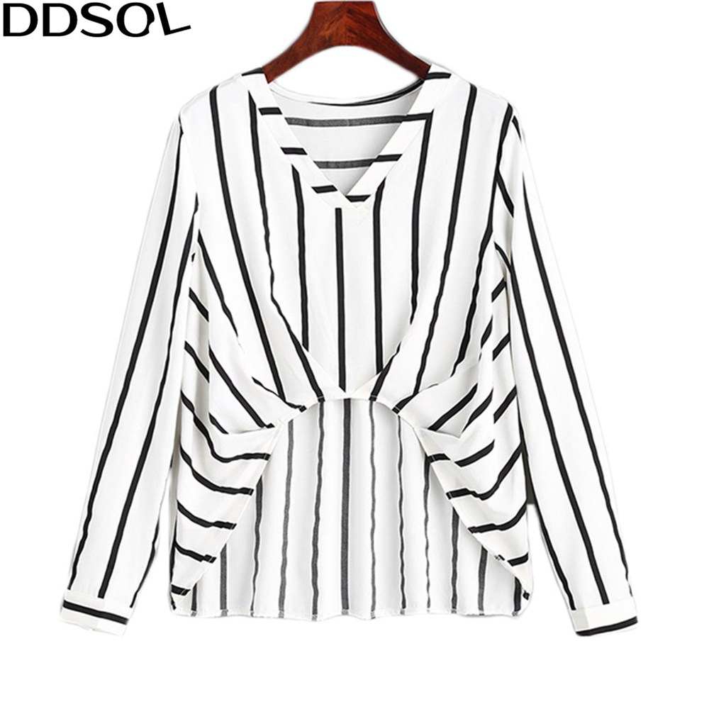 DDSOL Sexy Striped Navel Blusas Shirt 2018 Spring Long Sleeve V Neck Shirts For Women Fashion Casual Loose Tops Tees Blouses