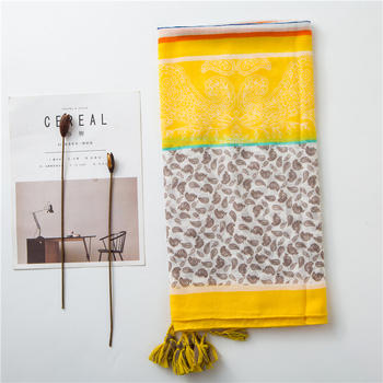 Vintage scarf warm Yellow tone tropical plant color tassel seaside vacation beach towel