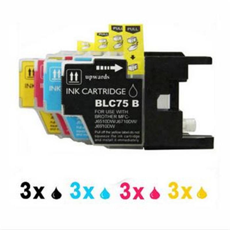 12PK LC1280 LC71 LC73 Compatible for Brother Ink Cartridge MFC-J430W MFC-J825DW MFC-J835DW DCP-J525N DCP-J540N Printer Inkjet 10pk free shipping for brother lc71 ink cartridge lc71 printer ink for brother 100