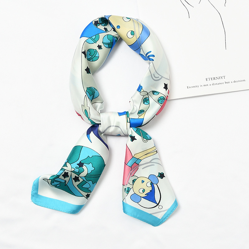 Women's 2020 Spring And Summer Explosions Cartoon Astronauts Print Wild Simple Silk Fashion Casual Small Scarf
