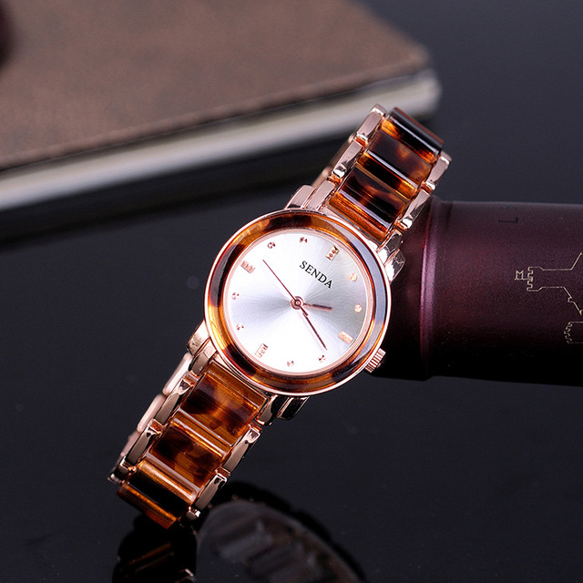 European Sexy Leopard Resin Bracelet Watches for Women Summer Fashion Vogue Girl