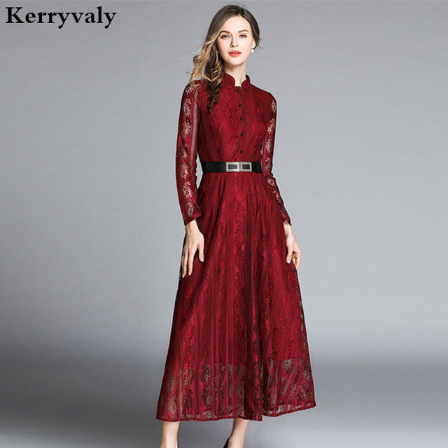 b5e55425a68 Spring Long-sleeved Retro Hollow Lace Maxi Dress Robe Femme Hiver 2019  Women Jacquard Long Party Dress Vestido Longo K8177