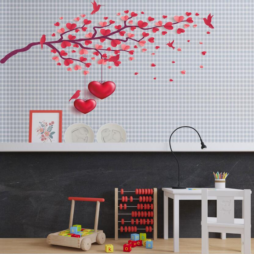 Glow in the Dark Wall Stickers Colourful Hearts Removable Girls Room Decoration