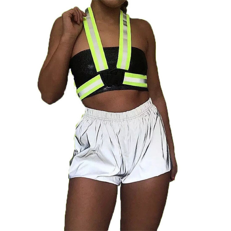 Women Hip Hop Loose Short Pants Night Light Reflective Shorts Casual Solid Color Shorts Mid Elastic Waist Sexy Shorts Club Wear