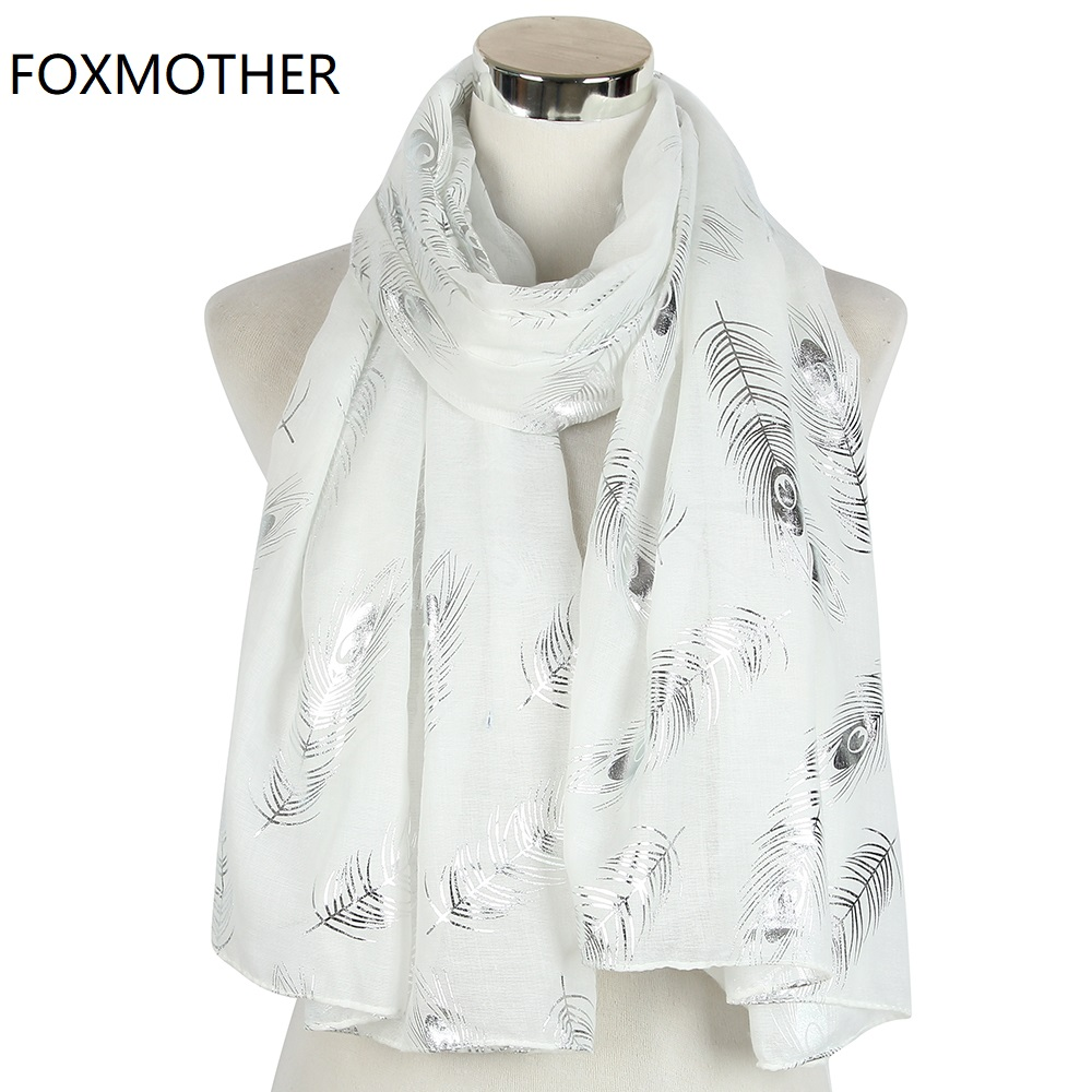 FOXMOTHER New Fashion Lightweight White Peacock Feather Animal Print Scarfs Foil Sliver Foulard Hijab   Scarves     Wraps   Shawl Ladies