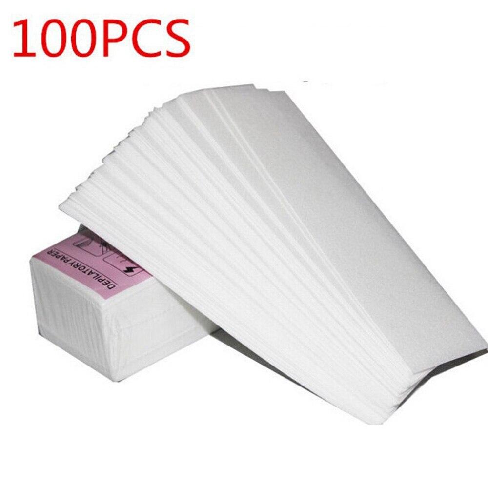 100Pcs Removal Nonwoven Body Cloth Hair Pad Paper Strips Wax Salon Spa Leg
