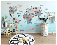 beibehang wall papers home decor Modern decorative painting 3d wallpaper hand-drawn animal map children room mural background