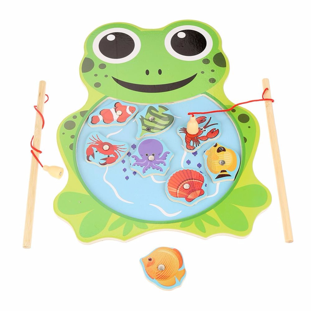 New 2 Color Baby Wooden Toys Magnetic Fishing Toys Game Jigsaw Puzzle Board Jigsaw Puzzle Children Educational Toys For Children