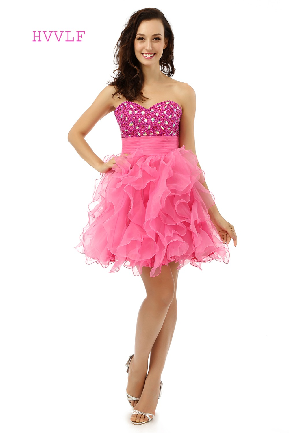 Fuchsia Homecoming   Dresses   A-line Sweetheart Organza Beaded Crystals Short Mini Sparkly Sweet 16   Cocktail     Dresses   2019