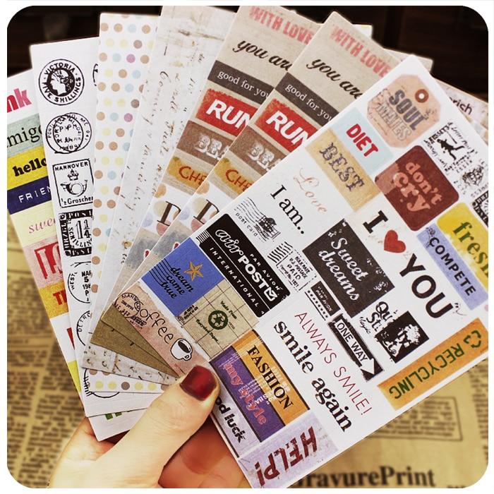 6 шт. винтажные Наклейки для декора слова для декора фото Декор реквизит наклейки для поделок ручной работы скрапбук фотоальбом