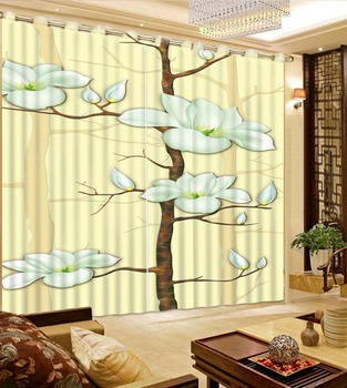 3D Curtains Bed Room Living Room Office Hotel Cortinas Yellow Background Flowers Custom Any Size 3D Curtain Blackout Shade