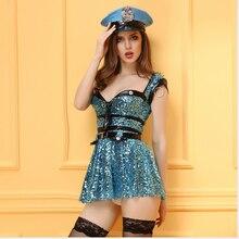 Disfraces de halloween mujer policía cosplay dress sexo uniforme azul mujeres policía sexy traje de lentejuelas de tela