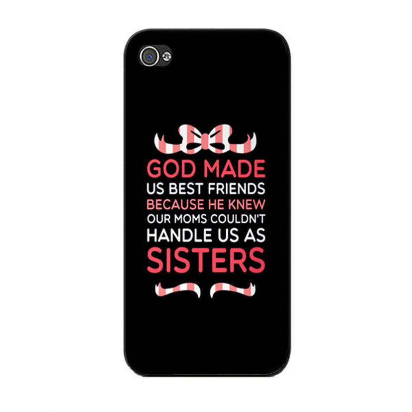 Cute God Made Us Best Friends Quotes Plastic Phone Cases For Iphone