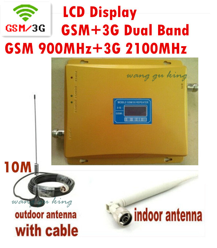 LCD Display 3G W-CDMA 2100MHz + GSM 900Mhz Dual Band Mobile Phone Signal Booster GSM 3G UMTS 2100 Signal Repeater Antenna+Cable