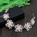 Impresionante Oro de Rose Plateado Flor Rhinestones Blancos de Novia Tiara Diadema de Perlas Accesorios de La Boda Celada Hairband de Las Mujeres
