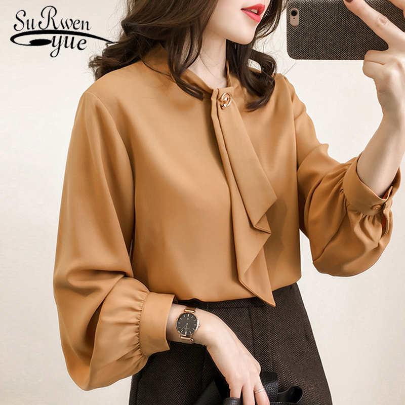 2019 fashion chiffon women   blouse     shirt   long sleeve bow collar OL   blouse   plus size 4XL women tops chiffon   blouse   blusas 0442 40