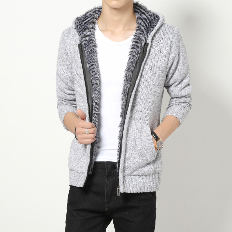 Autumn Winter Men Wool Zipper Sweater Hooded Cardigan Fleece Solid ...