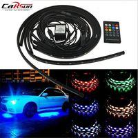 4Pcs 12V Car Invoice Remote Control Atmosphere Strip Light 90cm*120cm 5050SMD Car Auto Decorative Flexible LED Strip Lamp Kit
