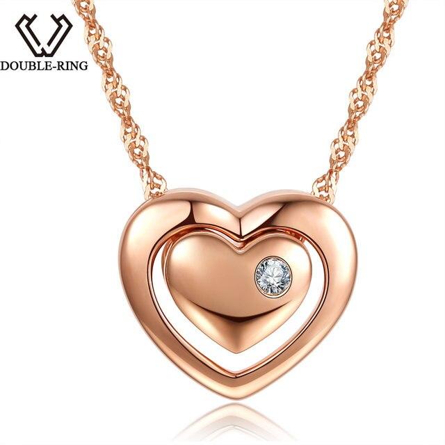DOUBLE-R 0.025ct Natural White Diamond Pingentes Mulheres Rosa de Ouro 925 de Prata Colares Coração Diamante Real-Jóias Com Cadeia Presente