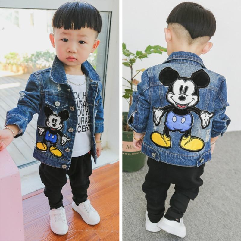 Осень 2021, куртка для маленьких мальчиков с Микки Маусом из мультфильма, детская модная ковбойская верхняя одежда в японском и корейском сти...