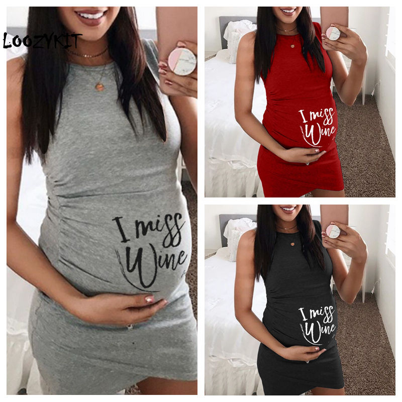 Maternity Dress for This is The Last ONE Personalized Print Dress Women Maternity Summer Sleeveless Letter Print Casual Sundress Pregnancy Dress