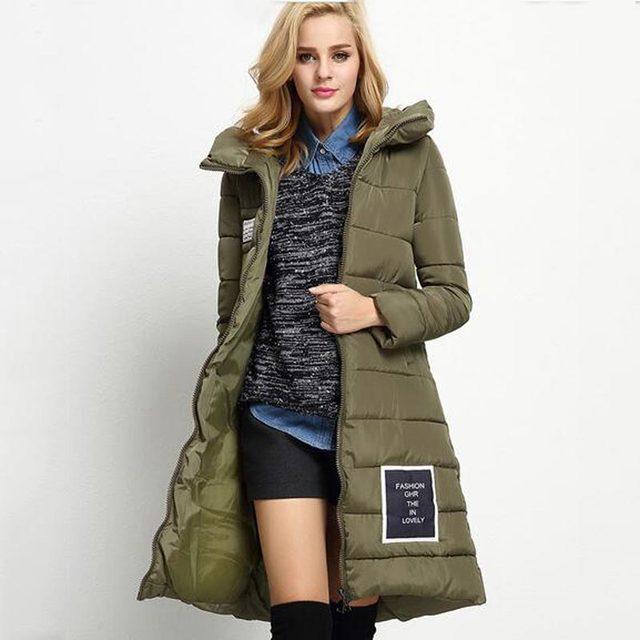 Hot venda nova moda feminina inverno espessamento jaqueta com capuz quente casaco de algodão solto tamanho maior senhoras longo parka sobretudo kp0776