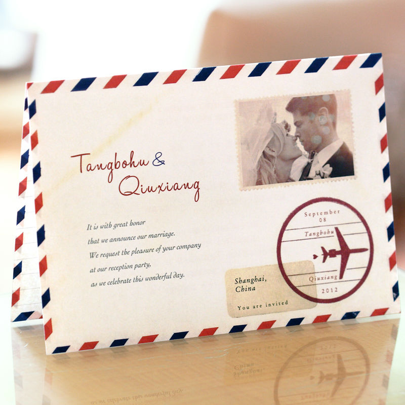 White Postcard Style Folded Photo Invitations Wedding Cards Customized Color Printing 50 Pcs Lot Free Shipping On Aliexpress Alibaba