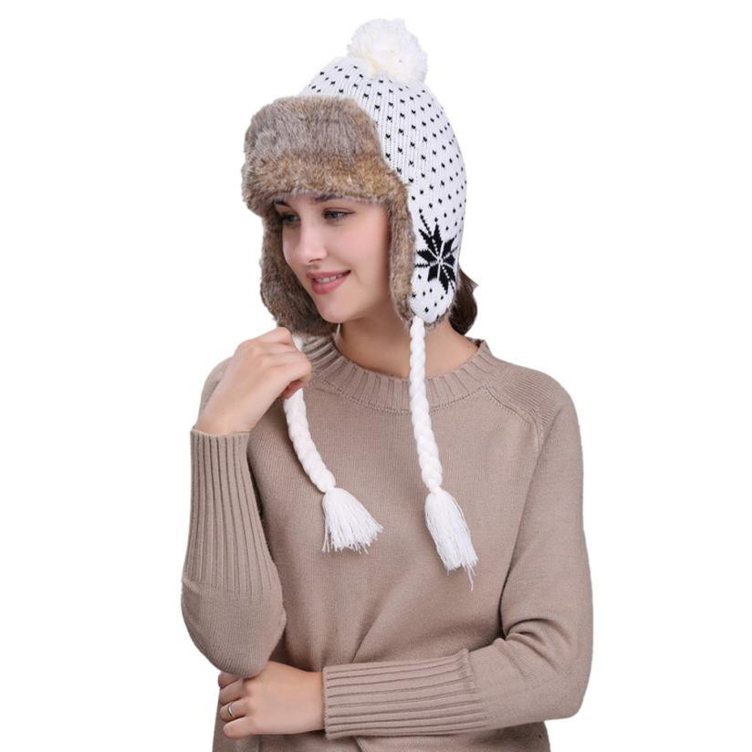Cheap Sale Warm Women's Winter Knitted Hats With Ear Flaps Snow Ski Thick Knit Wool Beanie Cap Hat Russian Fur Hat Sleigh