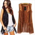 2016 Spring and Summer European Style Suede Tassel Vest Fashion Open Stitch Outerwear Sleeveless Long Vest colete feminino
