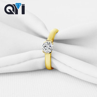 QYI Round Cut 14K Solid Yellow Gold Sona Simulated Diamond Wedding Rings For Women Gift Engagement Solitaire Rings