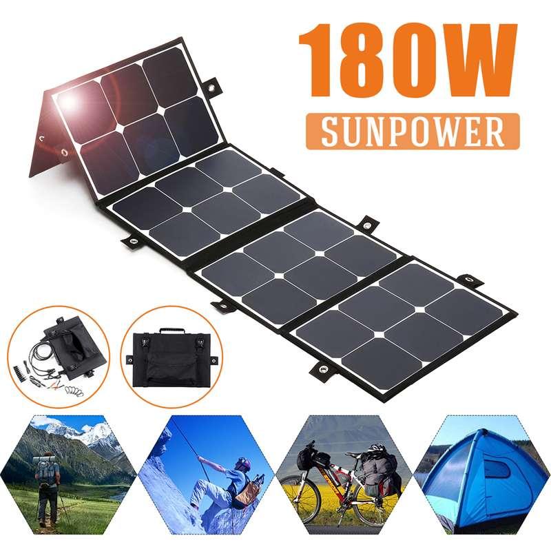 Nouveau Portable 180 W 18 V panneau solaire pliable chargeur étanche batterie externe pour téléphone batterie Port USB pour extérieur