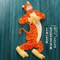 Para Adultos e Crianças Flanela Tiggerific Loung Desgaste Dos Desenhos Animados do Animal de Uma Peça Completa Com Capuz Longo-luva Outono e Inverno Velo Coral