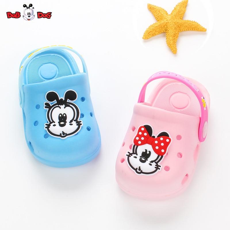 BOBDOG 2018 summer new childrens hole shoes boys baby cute dog cartoon soft anti-skid cool slippers size 20-24
