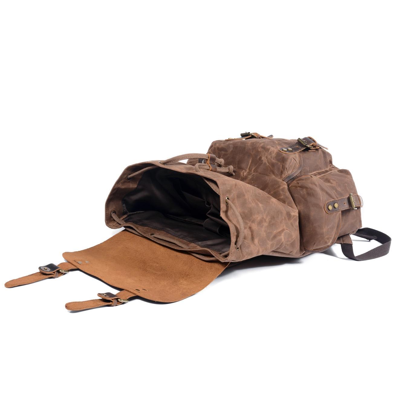 Toile imperméable à l'huile de cire et sac à dos en cuir véritable hommes voyage Vintage sac à dos à cordon grande capacité chaîne pochette d'ordinateur - 5