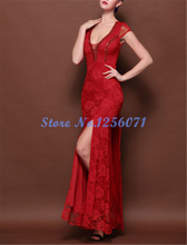 Graceful V-ausschnitt Meerjungfrau Abendkleider Lange Elegante Spitze Kappe Sleeve Abendkleid robe de soiree vestido de festa Prom kleid