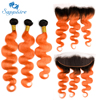 Sapphire Body Wave Ombre Human Hair 2 Tone 1B Orange Pre Colored Golden Ombre Brazilian Human